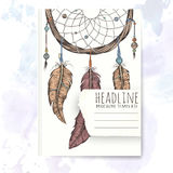 Notebook template with hand drawn dream catcher. Stock Photos