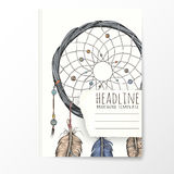 Notebook template with hand drawn dream catcher. Stock Photo