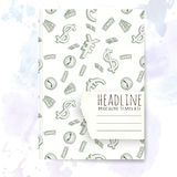 Notebook template with hand drawn money doodles. Royalty Free Stock Photos