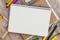 Notebook template mock up for artwork. View from above Stock Photos