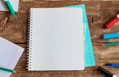 Notebook template mock up on a wooden table. Top view Royalty Free Stock Photography