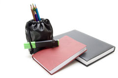 Notebook with text marker Royalty Free Stock Photography
