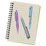 Notebook and three pens. On a white background Stock Photos