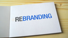 Notebook with title Rebranding opening. Rebranding and redesign concept. stock video footage