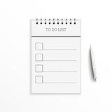 Notebook with to do list. Stock Image
