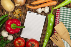 Notebook to write recipes Stock Photography