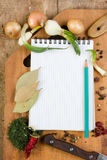 Notebook to write recipes with spices Stock Image