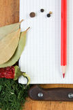 Notebook to write recipes with spices Stock Photo