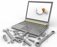 Notebook with the tools and fasteners of details for repair Royalty Free Stock Image