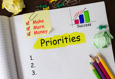 Notebook with Tools and Notes about Priorities Stock Images