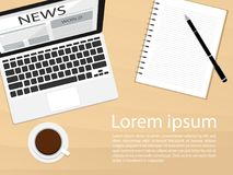 Video streaming subscribe followers laptop flat vectornotebook top view morning coffee news vector. Notebook top view morning coffee news vector n Royalty Free Stock Image