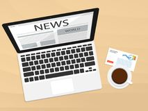 Notebook top view morning coffee news vector. N Stock Images