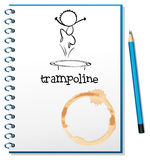 A notebook with a trampoline at the cover Stock Image