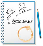 A notebook with two gymnasts at the cover page Stock Photos