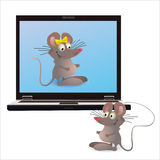 Notebook and two mouses on the screen and attached. Notebook and two mouses on the screen Royalty Free Stock Photography