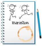 A notebook with two runners in the cover page Royalty Free Stock Images