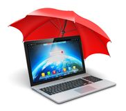 Notebook and umbrella Stock Image