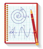Notebook with vector mathematical function graph Royalty Free Stock Photos