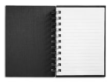 Notebook vertical single white page. Black cover Notebook vertical single white page Stock Photo
