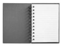 Notebook vertical single white page. Gray Cover Notebook vertical single white page Stock Photography