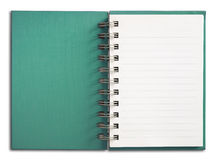 Notebook vertical single white page. Green coverNotebook vertical single white page Royalty Free Stock Photo