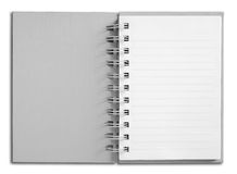 Notebook vertical single white page. Light Gray Notebook vertical single white page Stock Photography