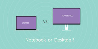 Notebook vs pc desktop. Comparing between notebook or laptop with pc desktop Royalty Free Stock Photo