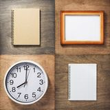 Notebook and wall clock at wooden background. Checked notebook and wall clock at wooden background stock image