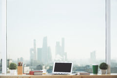 Notebook on windowsill Royalty Free Stock Images