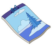 Notebook with winter landscape Stock Image