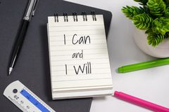 Notebook with wisdom quote. stock photo