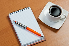 Notebook With Pen And Coffee. Stock Images