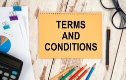 Free Notebook With Text - Terms And Conditions Near Office Supplies Royalty Free Stock Photo - 212912675