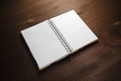 Notebook on wood stock photos