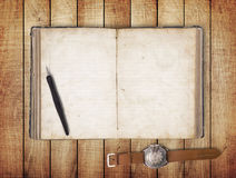 Notebook on wood table for text and background Stock Photo