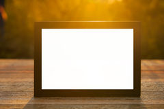 Notebook on wood table for work and public relation Royalty Free Stock Image