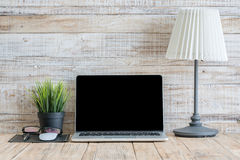 Notebook on wooden in Home, Mockup business. Stock Images