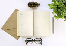 Notebook for working notes, glasses, pen. Plan 2017. Stock Images