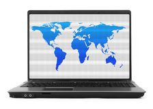 Notebook with world map. On white, natural shadow in front, the image on the screen has a clearly visible net simulating display pixels stock photos