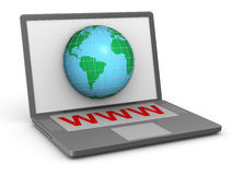 Notebook with www key. 3d notebook with a big www key and a globe on the screen stock illustration