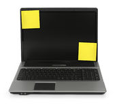 Notebook with yellow notes Royalty Free Stock Photo