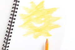 Notebook with yellow pencil Royalty Free Stock Image