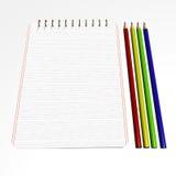 notebook2 μολύβια Στοκ Φωτογραφίες