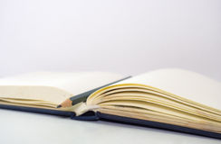 Notebookblur d'ontop de crayon avec le blanc de fond Photo libre de droits