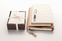 Notebooks with box of cards Stock Photos