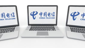 Notebooks with China Telecom logo on the screen. Computer technology conceptual editorial 3D rendering Stock Image