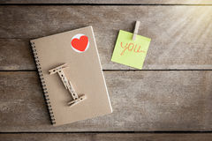 Notebooks, clip boards, Notepad, Arranged in is the meaning I Love you Stock Images