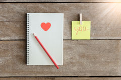 Notebooks, clip boards, Notepad, pencil Arranged in is the meani Stock Image