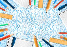 Notebooks with deferent pencils in realistic style on background with school doodle illustrations. Vector illustration design stock illustration