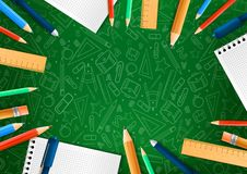 Notebooks with deferent pencils in realistic style on green background with school doodle illustrations. Vector illustration stock illustration